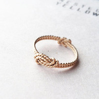 A Sailor's Wave and Secret Love Knot ring - 14k solid gold, 14k gold filled and sterling silver