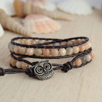 Owl button bracelet. Sunstone bead jewelry. Bohemian nerd double wrap bracelet