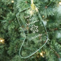 Baby's 1st Christmas Glass Stocking Ornament