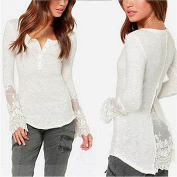 Split Knit Patchwork Slim T-shirts Tops Lace Bottoming Shirt [2070458073142]