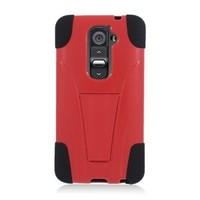 Eagle Cell LG Optimus G2 Hybrid Case Y with Kickstand - Retail Packaging - Red/Black