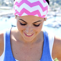 CHEVRON FitHappy Workout Headband in PINK Crossfit, Yoga, Fitness, Workout, Exercise Band
