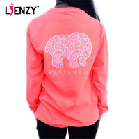 2016 Spring Ivory Ella Womens T Shirt Long Sleeve Womens Tops Printed Elephant  Loose Long Sleeve Harajuku Pullovers