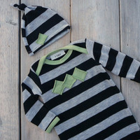 Baby boy clothes.  Black/ gray stripes with green trim.  (size newborn gown and hat set)   -READY TO SHIP-   (Made by lippy brand)