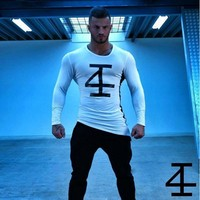 Stylish Men's Fashion Sports Long Sleeve Stretch Round-neck Bottoming Shirt [10657852931]
