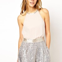 French Connection Playsuit with Sequin Shorts