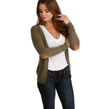 Olive Patch Work Cardigan