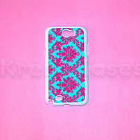 Samsung Galaxy Note 2 case,Pink and Blue Damask Pattern  Samsung Galaxy Note 2 case For your Samsung Galaxy Note 2