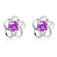 Voberry® Newest Fashion 925 Sterling Silver Plated Rose Flower Shaped Austrian Crystal Stud Earrings for Women Ladies Gift (Purple)