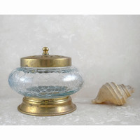 Vintage Hair Receiver, Jewelry Box Dish, Decorative Jar with Lid, Translucent Clear Crackle Glass Brass Floral Cut Out, Bed and Bath Decor