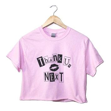 Thank U, Next Light Pink Graphic Unisex Cropped Tee