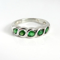 Vintage Peridot Ring, Sterling Silver, Five Stone, Size 6.25