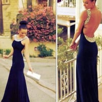 Open Back Floor Length Prom Dresses