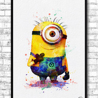 Minion 4 Despicable Me Watercolor Print Children's Room Decor Giclee Minion Poster Wall Art Wall Hanging Movie Poster Baby Room Nursery Art