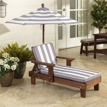 Outdoor Chaise Lounger Gray and White