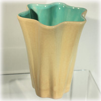 Red Wing Pottery, Style 887, Ruffled Vase, Tan Aqua, 1930s pottery, vintage red wing, Golden Beige, Draped Tall, US Pottery, Home Decor