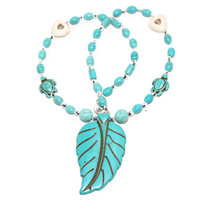 Turquoise Necklace, Necklace With Big Leaf Pendant, Beaded Turquoise Necklace,Turtle Necklace