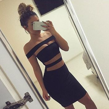 Fashion Edgy Hollow Sleeveless Strapless Solid Color Tight Mini Dress