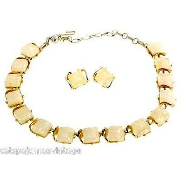 Vintage Coro Yellow Lucite Sparkle Confetti Necklace & Earrings 1950S