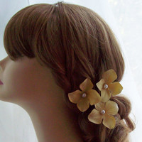 Yellow Hydrangea Hair Pins Centered with by ElegantPartyBoutique