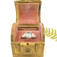 Vintage Ring Box, Charming Engagement Ring Presentation Box, Heavy Well Made Metal Box with Flowers and Scrolling Vines, Treasure Chest