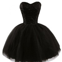 Gorgeous Bridal Tulle Ball Gown Mini Cocktail Homecoming Dress Beaded