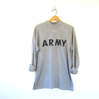 25% OFF SALE Vintage gray Army shirt. Grunge shirt. United States Army long sleeve shirt.