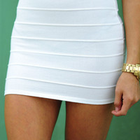 RESTOCK Banded With Love Skirt: White | Hope's