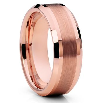 Rose Gold Tungsten Wedding Band - Men's Wedding Band - Rose Gold Tungsten