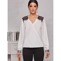 Contrast Lace Color-Block V-Neck Blouse