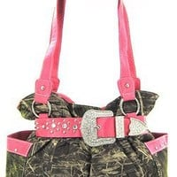 Pink Belted Rhinestone Western Buckle Soft Camo Purse Camouflage Cowgirl Bag