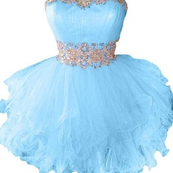 Honeystore Women's Sweetheart Tulle Puffy Beaded Cocktail Homecoming Dress