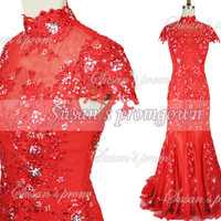 High collar short sleeves with beads lace backless red dresses, Prom Dress,Evening Dress,Wedding Dresses