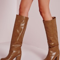 Missguided - High Leg Patent Boots Tan