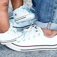 Women With Men White Converse Fashion Canvas Flats Sneakers Sport Shoes-5
