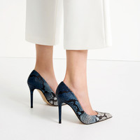 EMBOSSED LEATHER HIGH HEEL SHOES