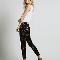 Free People Womens Butterfly Floral Velvet Skinny