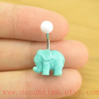 Elephant Belly Button Rings,blue elephant Navel ring,lucky belly button jewelry,friendship bellyring,oceantime