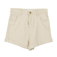 Natural Color Rolled-Up Shorts