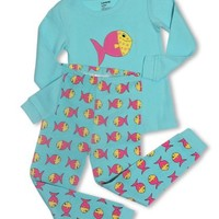 "Leveret Little girl ""Color Fish"" 2 Piece Pajama Set 100% Cotton (2-8 Years)"