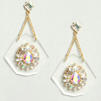 Clear as Day Rhinestone Lucite Earrings