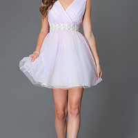 Short V-neck Homecoming Dress 7363