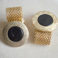 Vintage Black and Gold Tone Mesh Cufflinks // Vintage fold over cufflink //