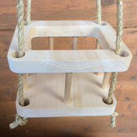 Wooden Doll Swing Set, Doll House Accessories, Natural Wood Waldorf- inspired Toy