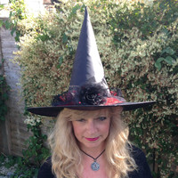 Pretty Sparkly Witch Hat with Black Rose, Red Net, Black Lace and Red Sequins
