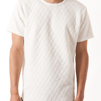 WHITE QUILTED KNIT CURVED HEM TEE
