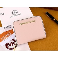 MK Michael Kors Tide brand women's short shell zipper wallet purse card package Pink