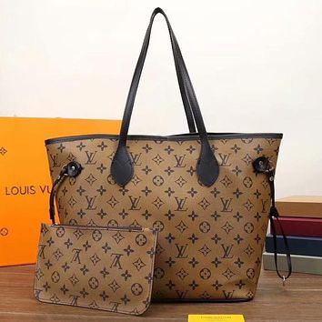 LV Louis Vuitton canvas shopping bag shoulder bag two-piece set