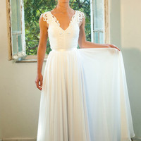 Romantic vintage bridal lace wedding dress Custom made chiffon wedding gown, backless Bridal Gown
