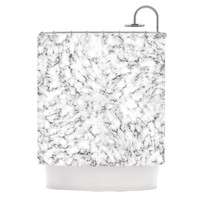 "Will Wild ""Marble"" White Gray Shower Curtain"